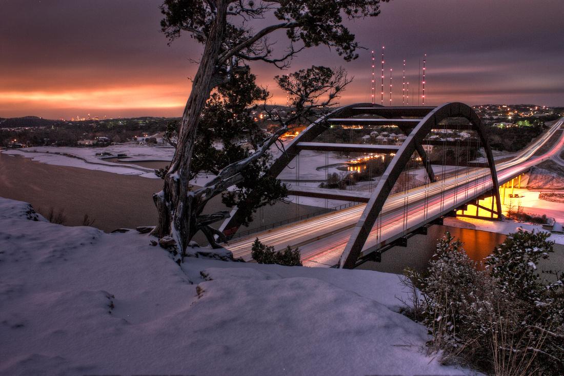 """Snowy Austin"", ""360 Bridge"", ""Pennybacker Bridge"", ""Austin Landmarks"", HDR, photography, photographs, photographer"