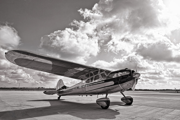 Classic Aviation, Cessna, chrome, HDR, airplane, black and white, photography, photographer, photograph